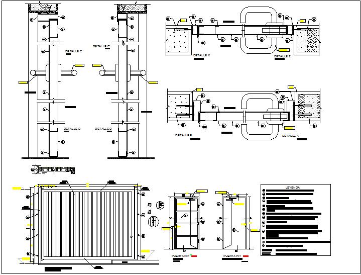 Metal door design view with detail and legend dwg file