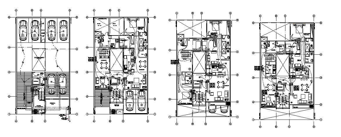 Multi-story apartment building floor plan and electrical