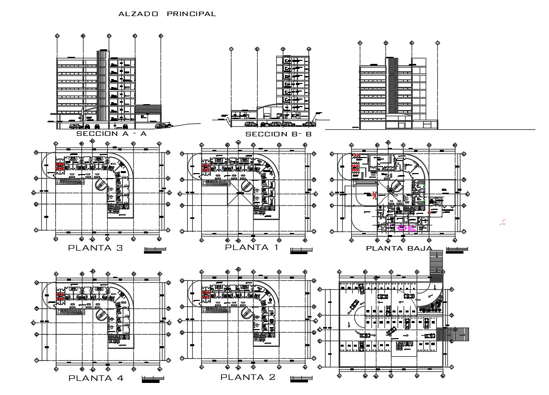 Multi Story Hospital Building Elevation Section And Floor