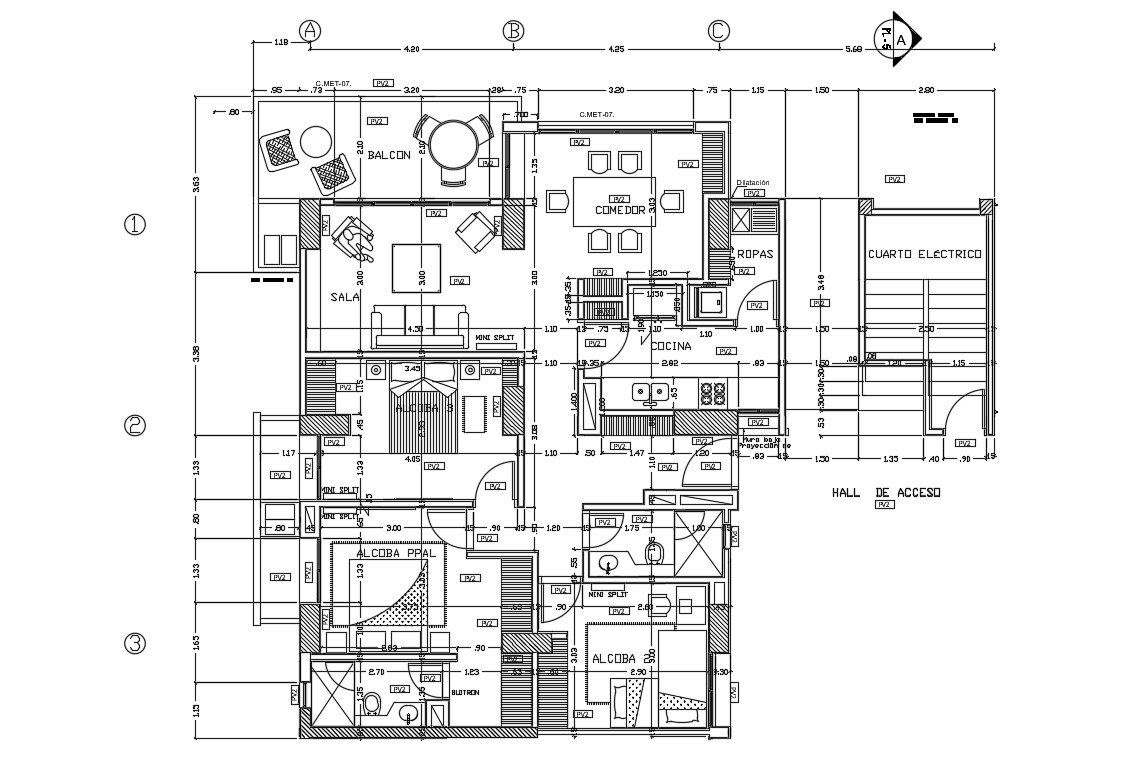 One Unit Plan Of Three BHK Apartment Design With Fully