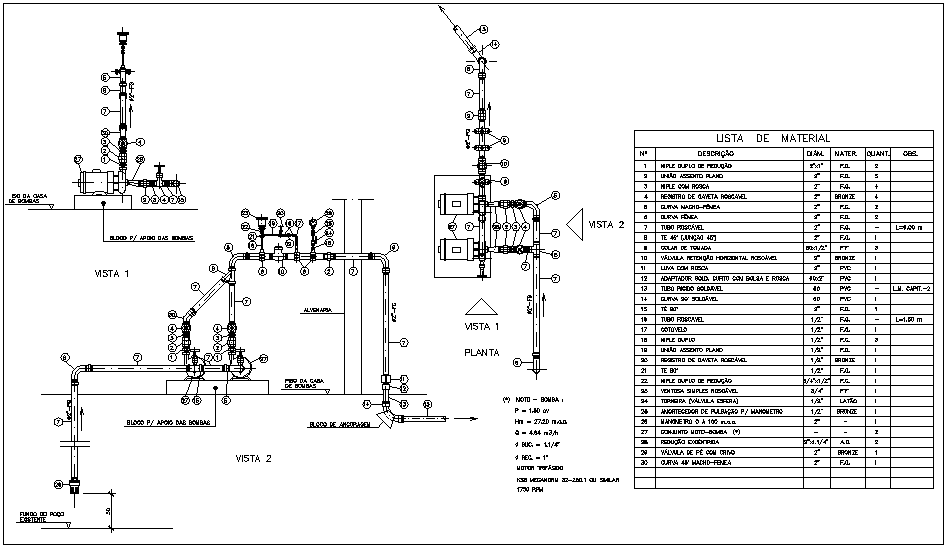 Pipe line design view with plumbing detail and part list