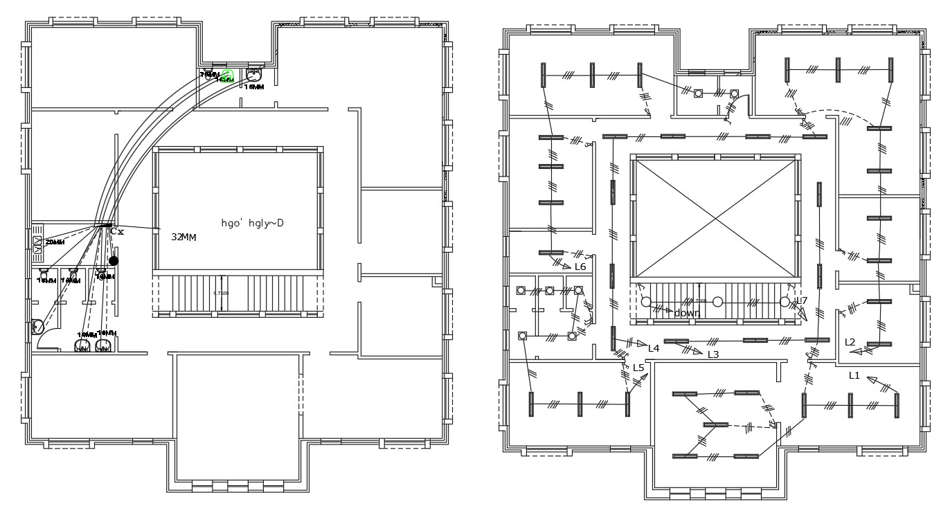 Plumbing And Electrical Layout Plan Of Hostel Building DWG