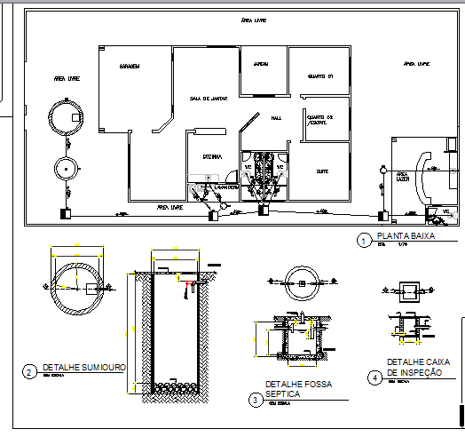 Plumbing details of one family house with layout plan dwg