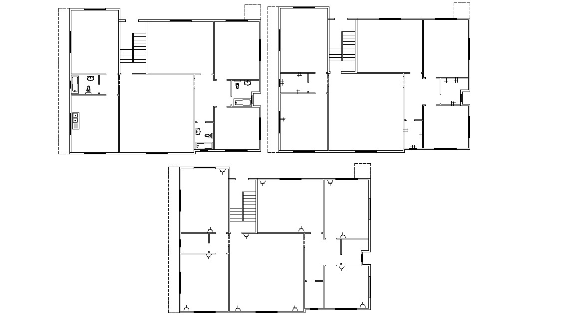 Plumbing And Electrical Plan Of Residential Building DWG