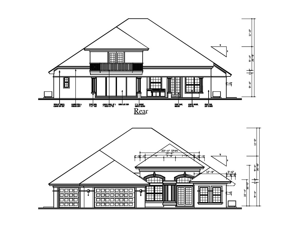 Rear And Front Side Sloping Roof Elevation Of Huge