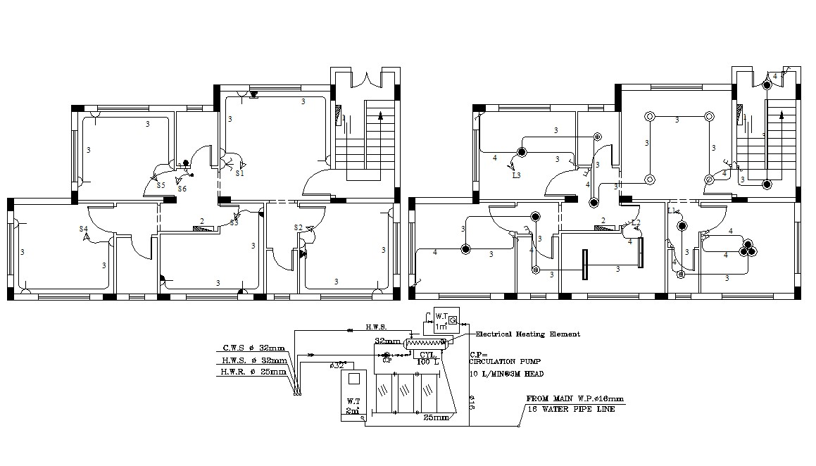 Residence Bungalow Design Electrical Working Plan CAD
