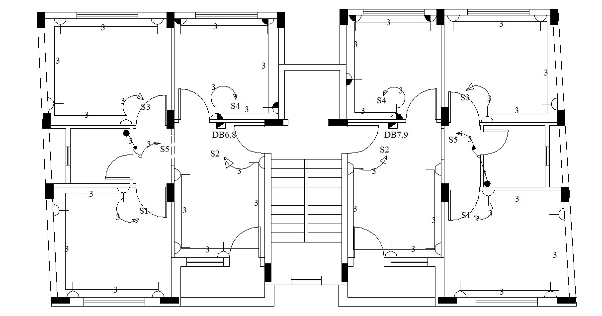 Residential Apartment Building Design With Electrical Plan