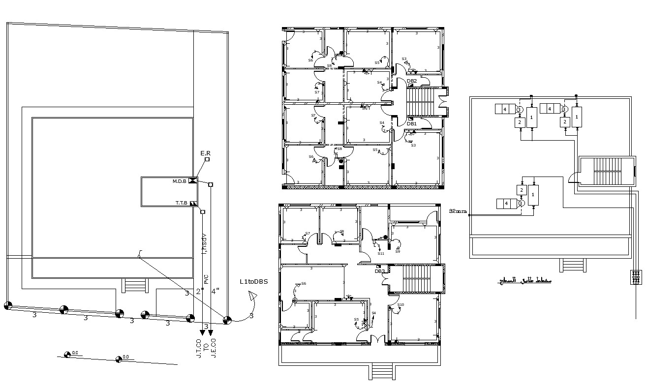Residential Building Electrical And Terrace Floor Plan Cad