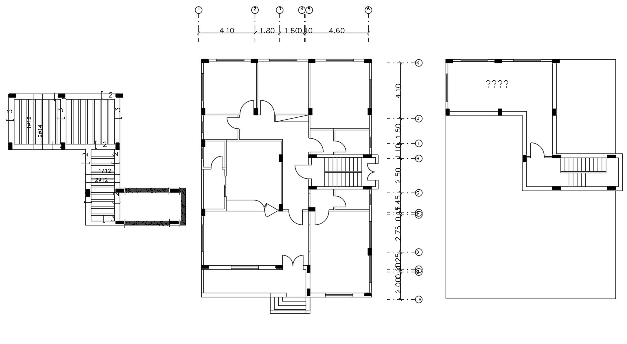 Residential bungalow Plan With Column Layout DWG File