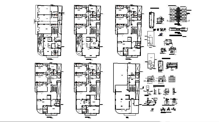 Restaurant drawing with electric end sanitary layout plan