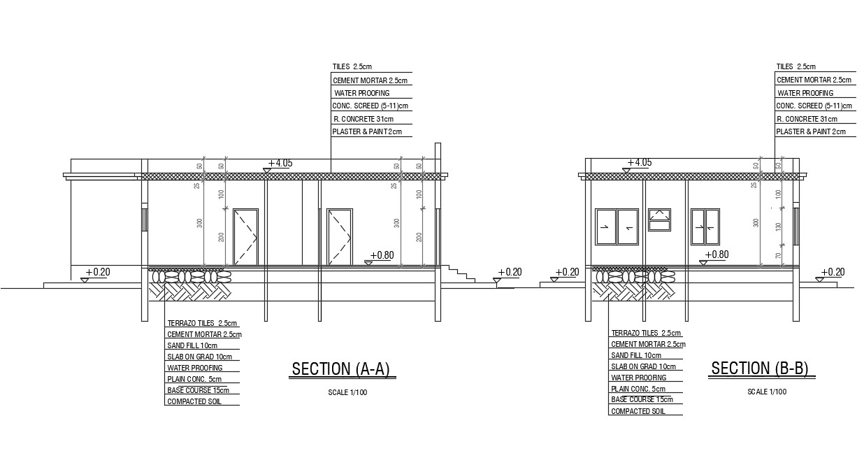 Single Floor House Building Section Drawing With RCC