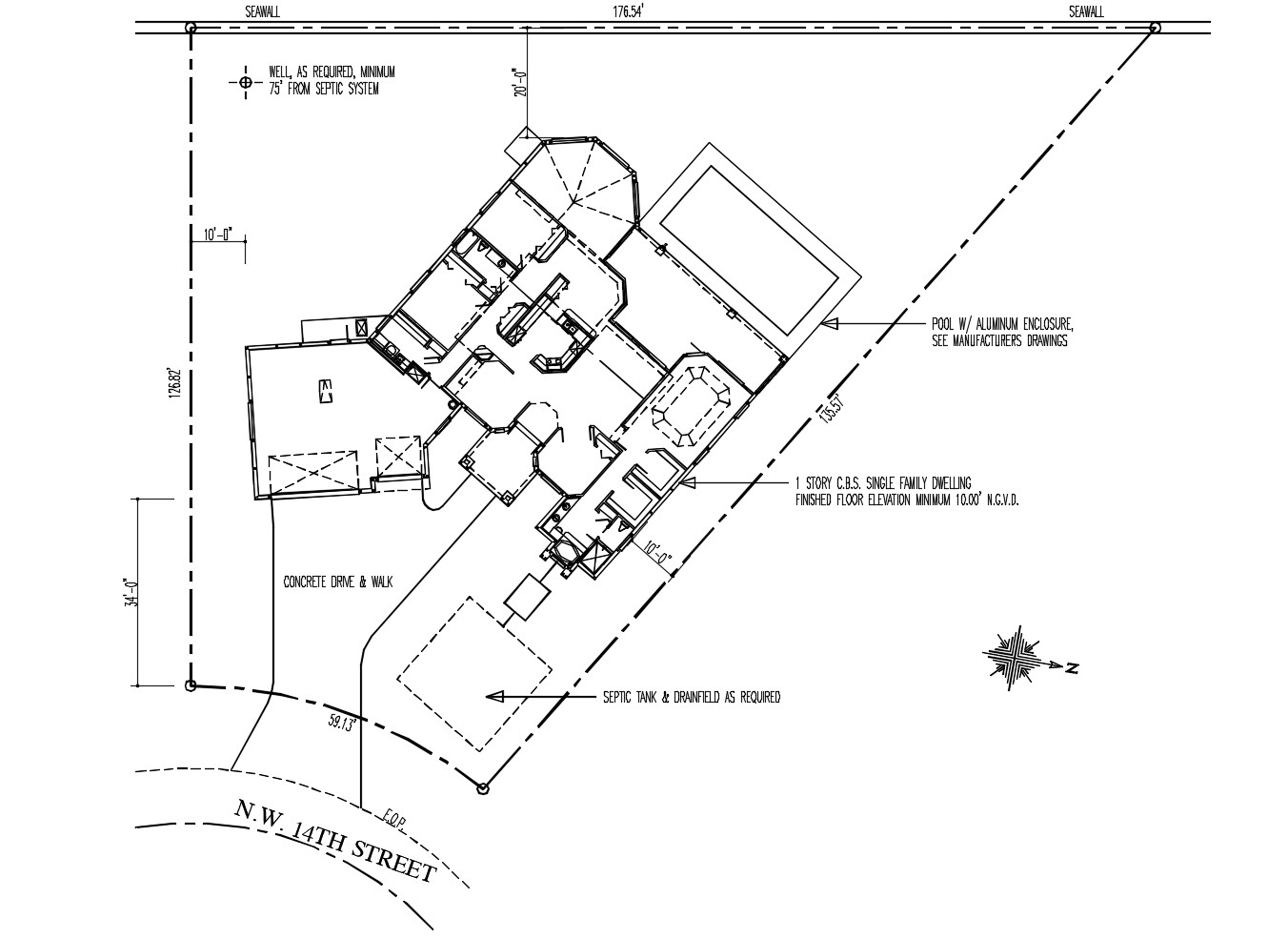 Site plan of the residential house with detail dimension