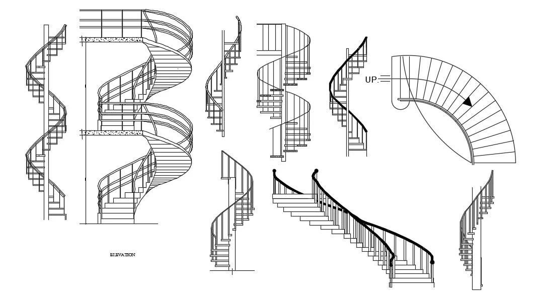 Spiral Shape Stairway Elevation Design Architecture