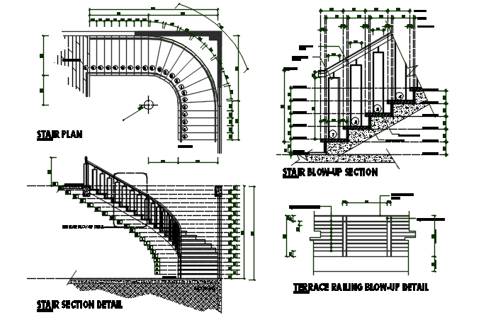 Stair plan, elevation plan and section plan detail dwg