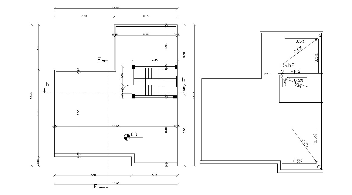 Terrace Floor Plan With Working Dimension AutoCAD Drawing