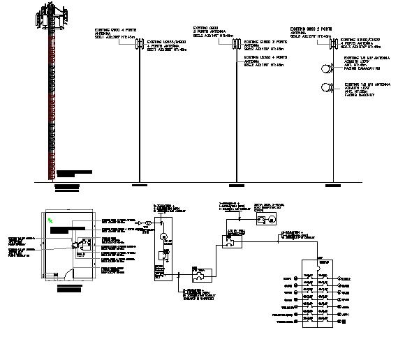 Three legged SST tower electric installation details dwg