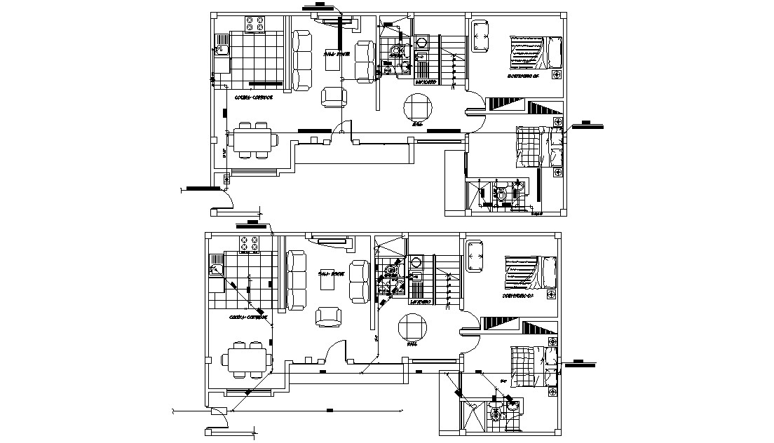 Two BHK Bungalow Design Architecture Plan CAD drawing