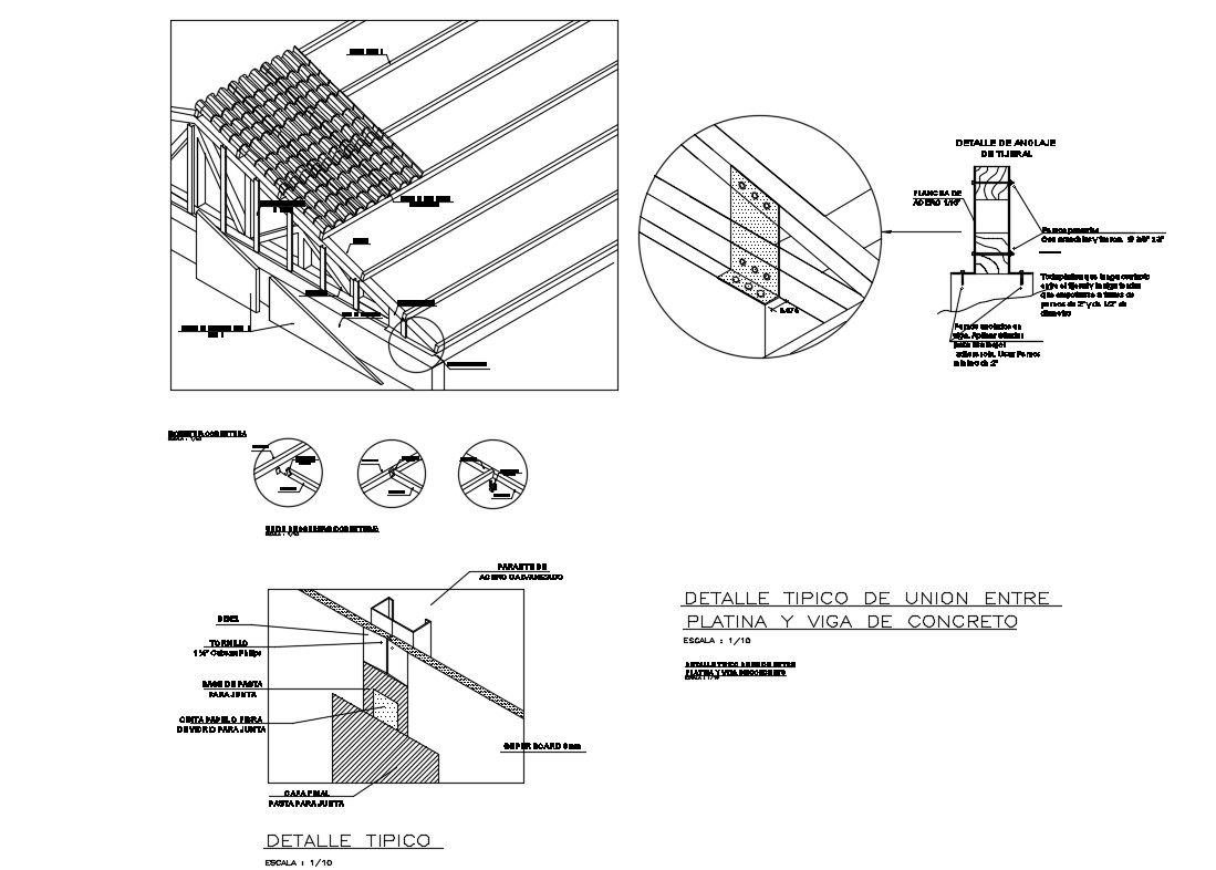 Typical details of union between platina and concrete beam