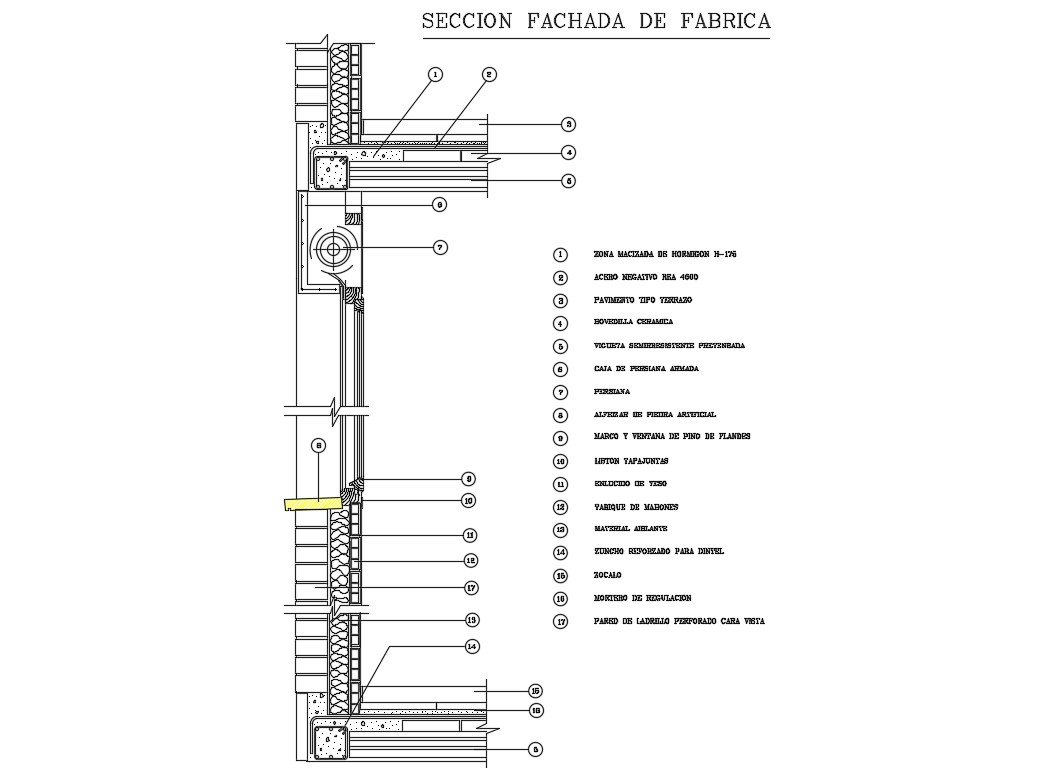 Wall section details by flat slab cad structure details
