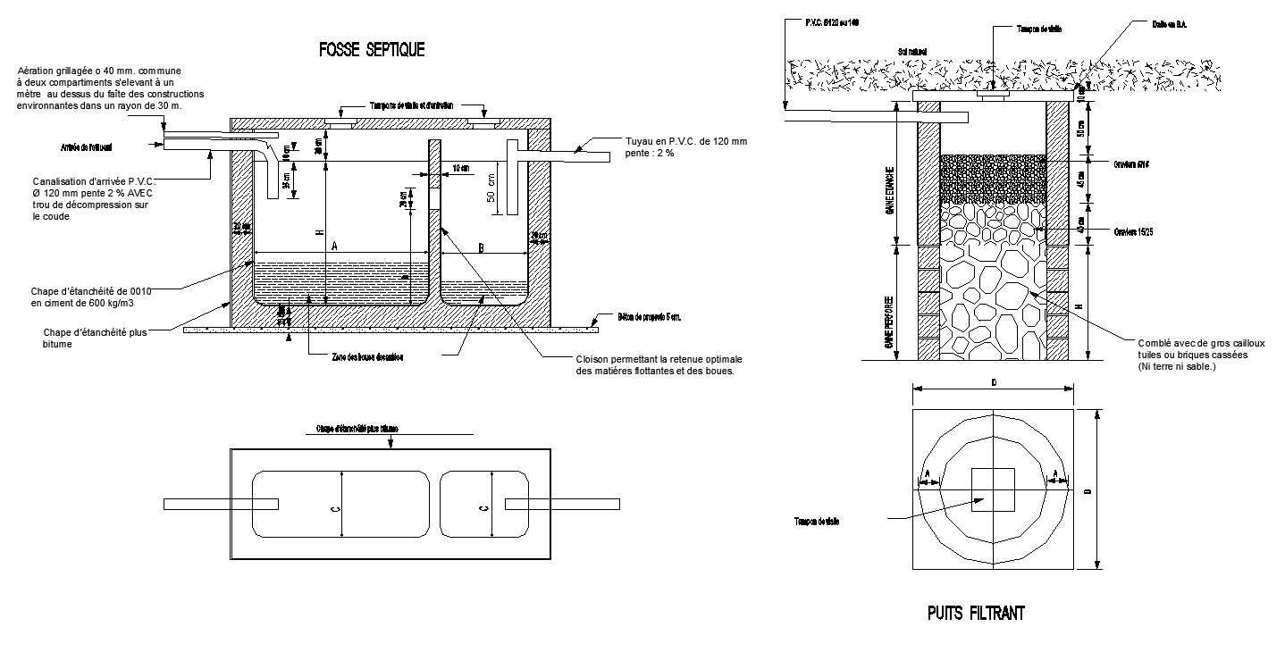 Water Filtration tank detail elevation and plan 2d view