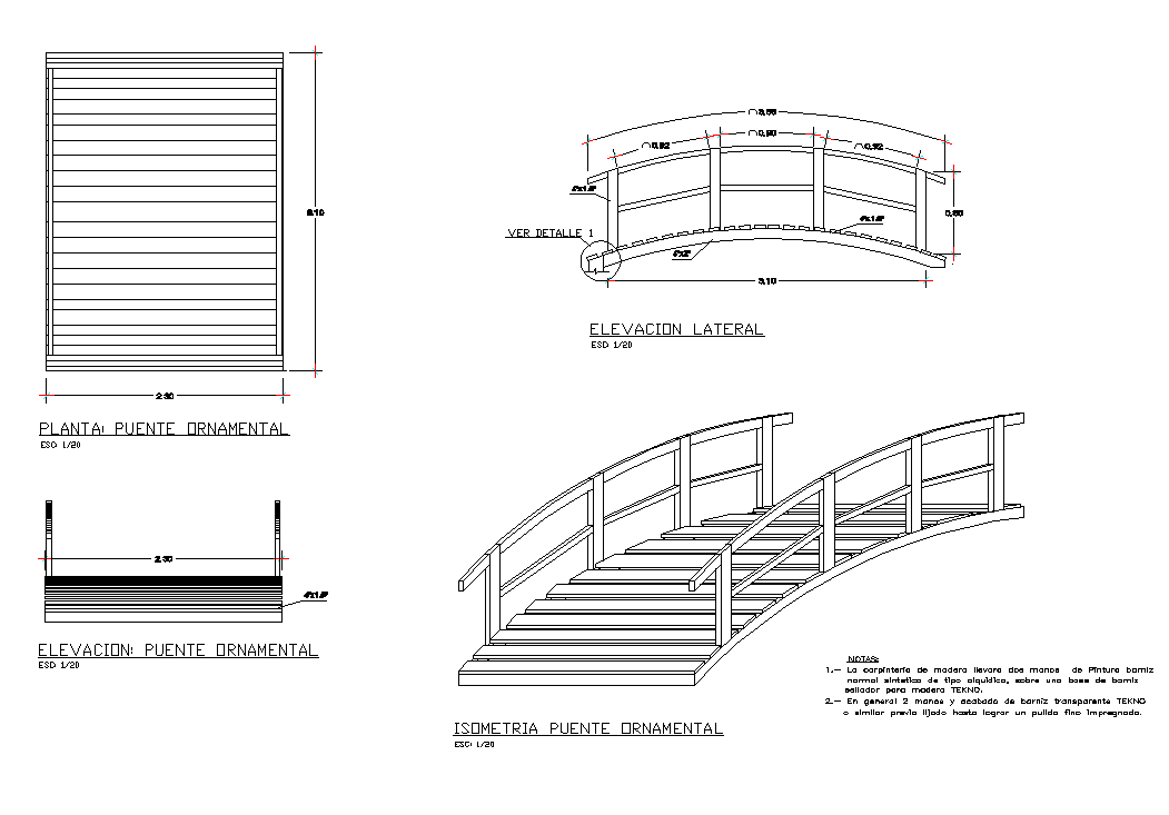 Wooden bridge structure detail elevation and plan autocad