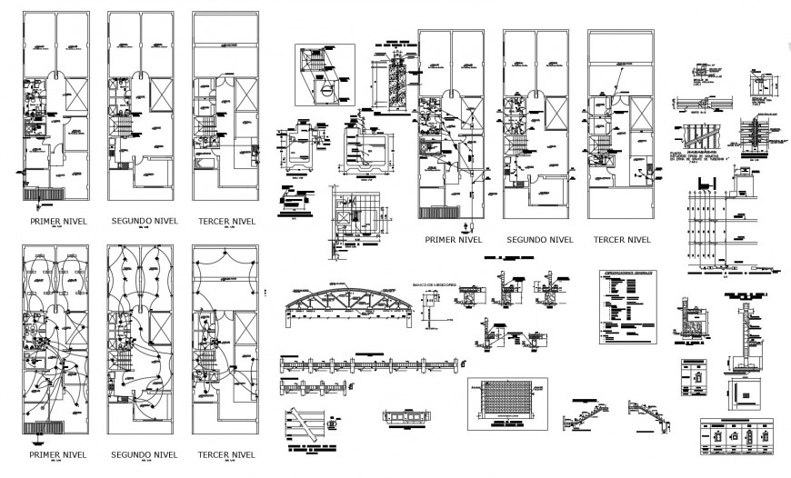 Apartment building floor plan, electrical layout and