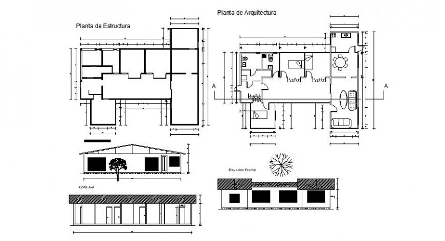 Architecture plan elevation and sectional view of house in