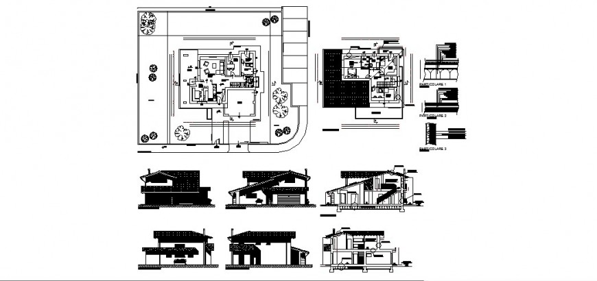 Bungalow architecture elevation detail drawing in dwg