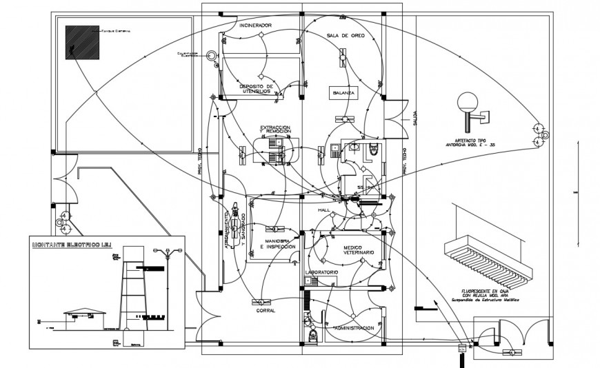 CAD drawings details of building electrical installation