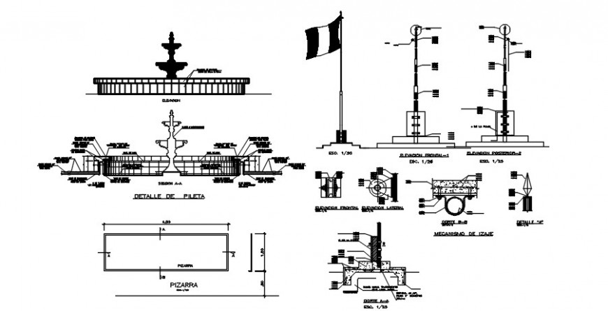 CAD fountain design 2d view drawings details in autocad