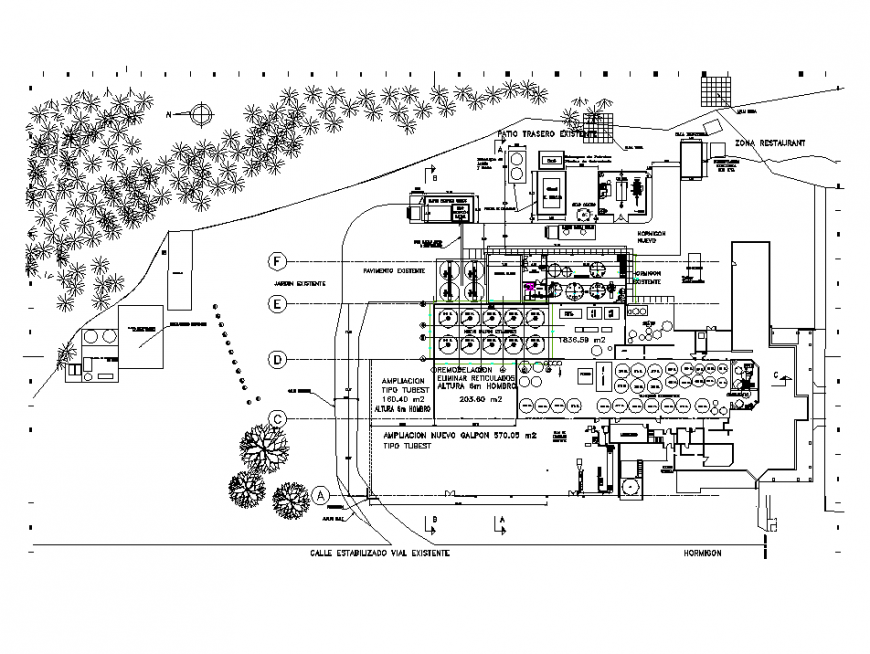Chemical plant factory detail plan view and elevation