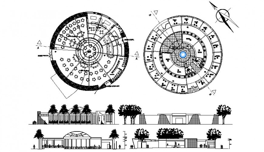 Circular restaurant building details work plan and