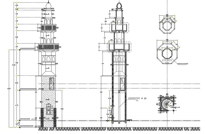 Column pillar drawing 2d view plan and elevation dwg file