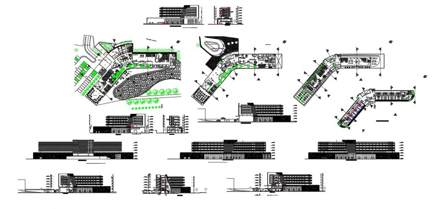 Commercial building hub detail plan, elevation and section