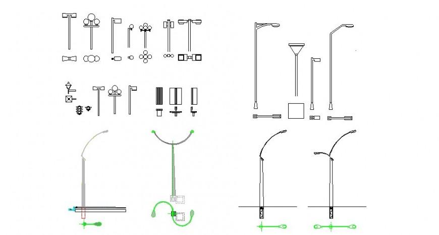 Creative multiple street lights and light-pole blocks cad