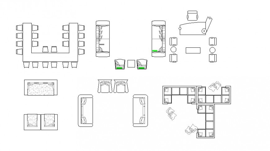 Creative office furniture blocks cad drawing details dwg