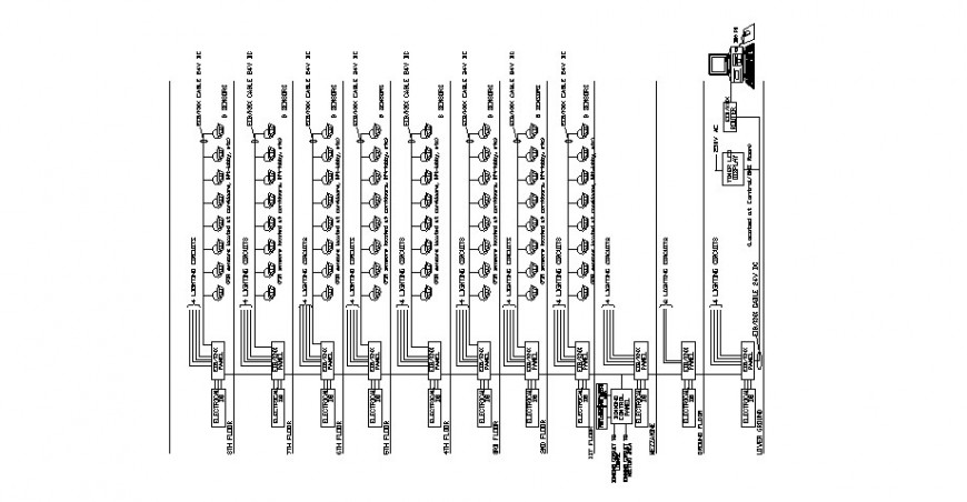 Diagram and electrical installation for hotel building dwg