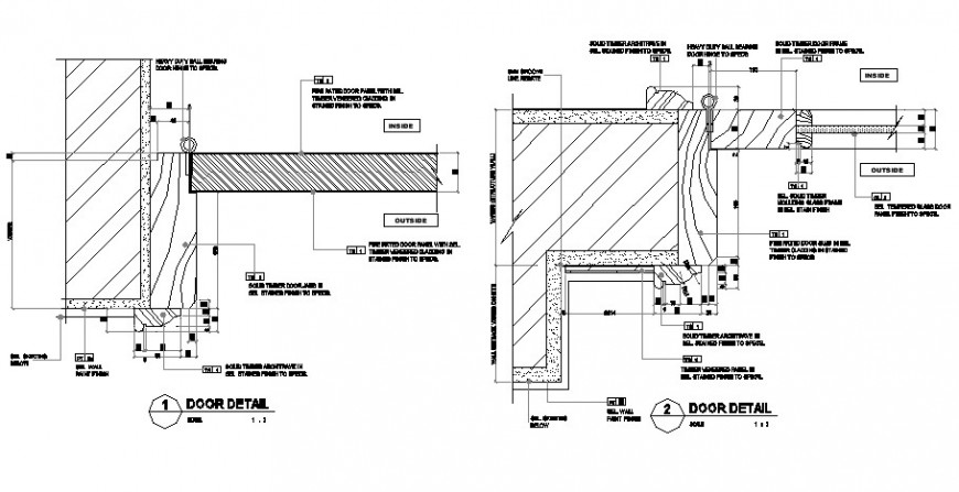 Door sectional detail 2d view CAD block layout file in dwg