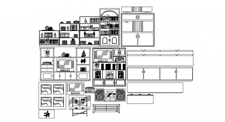 Drawing room furniture units detail elevation autocad file
