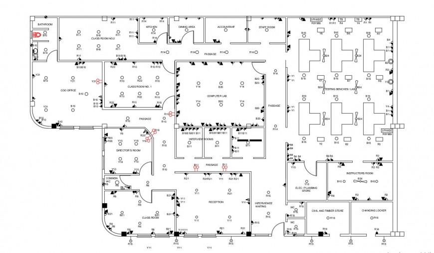 Electric circuits flow diagram 2d view dwg autocad file