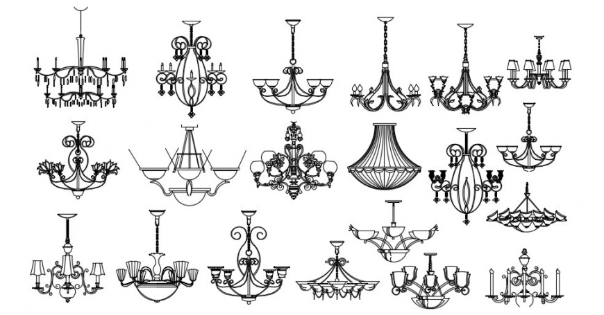 Electrical chandelier elevation blocks drawing detail dwg