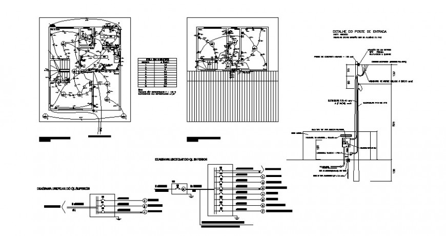 Electrical installation details with riser diagram cad