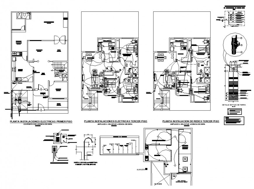 Electrical installation in building structure 2d view CAD