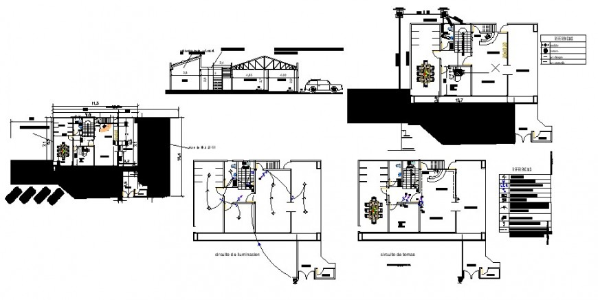 Electrical installation layout plan and house details 2d