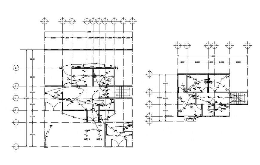 Electrical installation layout plan details of two floors
