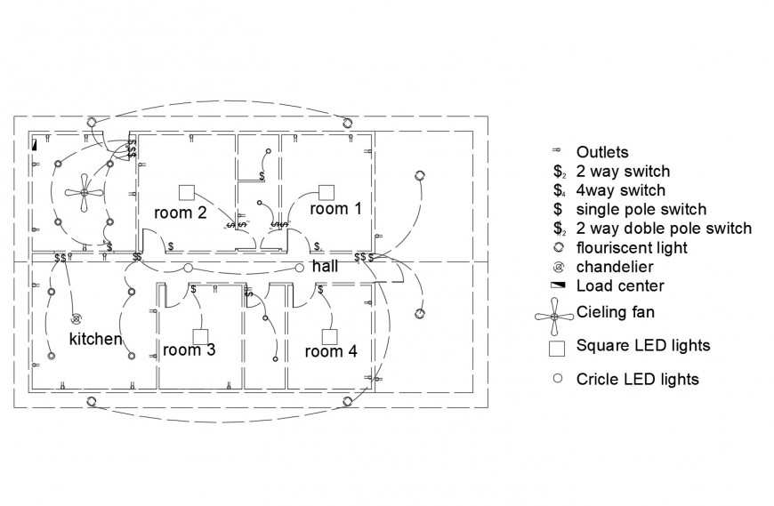 Electrical installation layout plan of four bedroom house