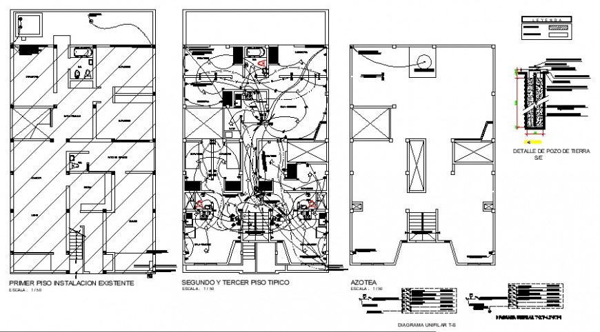 Electrical installation plan in an apartment detail 2d