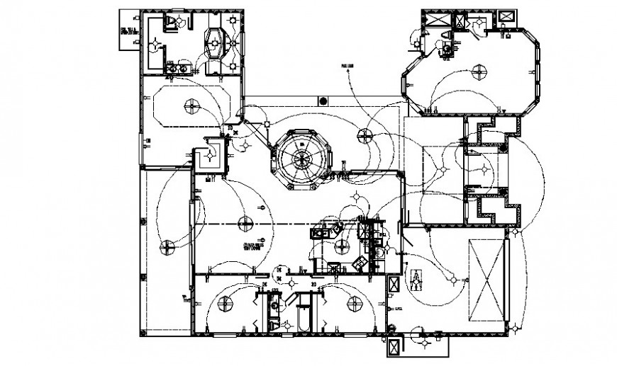 Electrical layout details in building 2d view autocad file