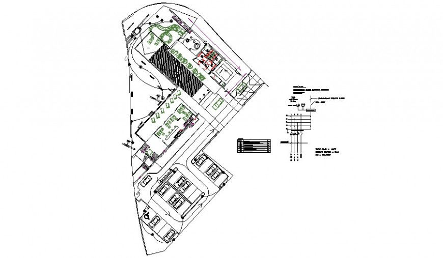 Electrical layout plan of the club house in detail drawing