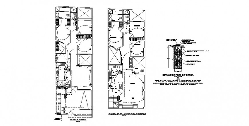 Electrical layout plan of the residential building in dwg